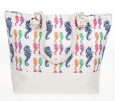Rope Handled Beach Bag Bright Sea Horse Holiday Design  Tote